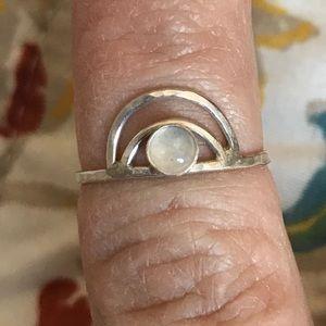 Full moon moonstone silver ring
